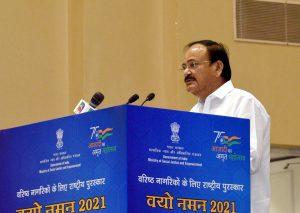 The Vice President, Shri M. Venkaiah Naidu addressing the gathering at the Vayo Naman 2021 awards ceremony, in New Delhi on October 01, 2021.